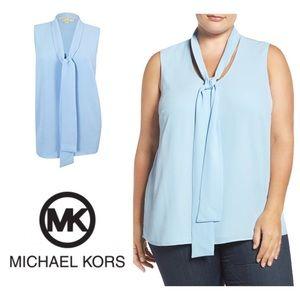 New Michael Kors Sleeveless Tie Neck Blouse